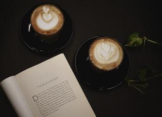 two mug of cafe lattes