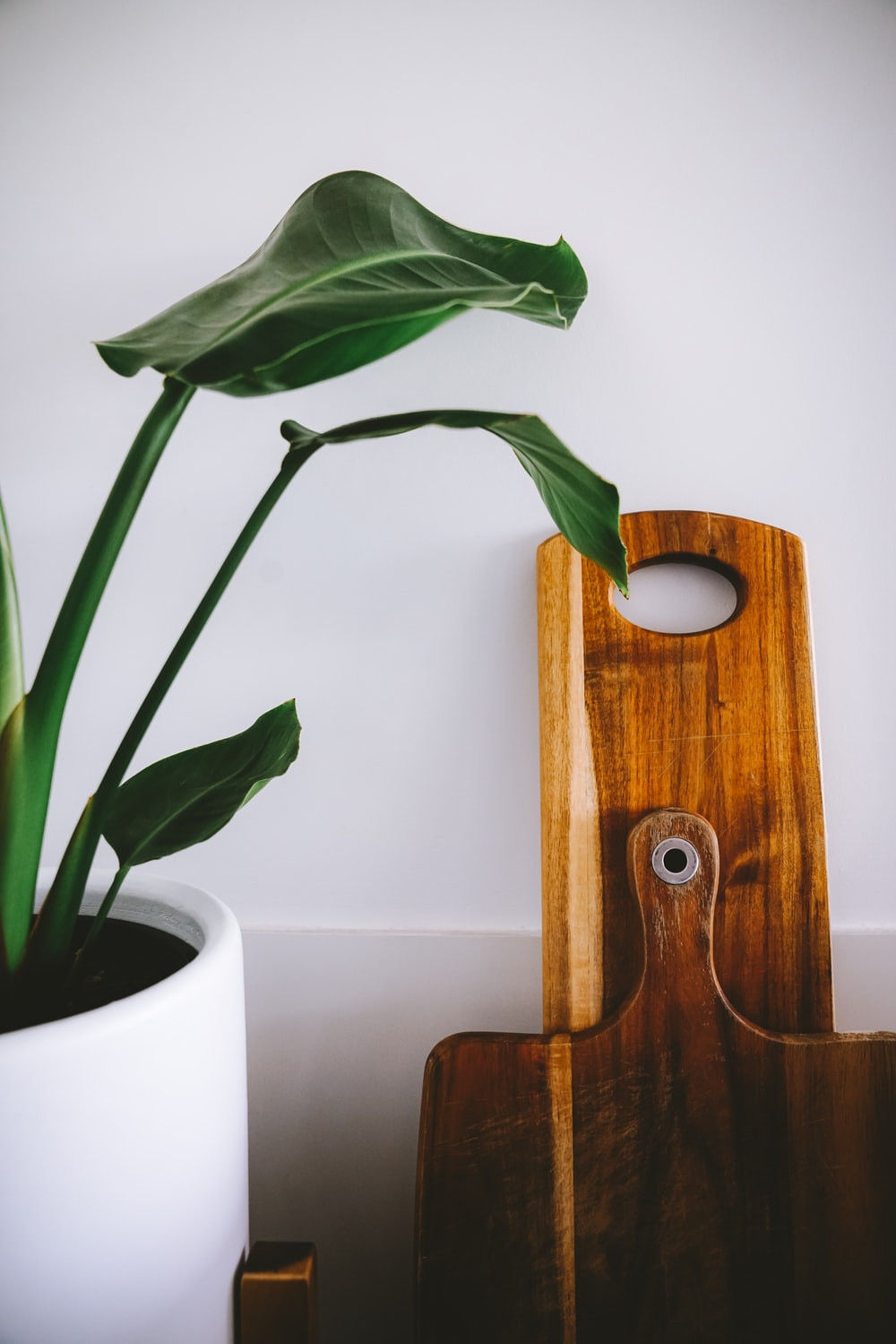 brown wooden chopping boards on wall