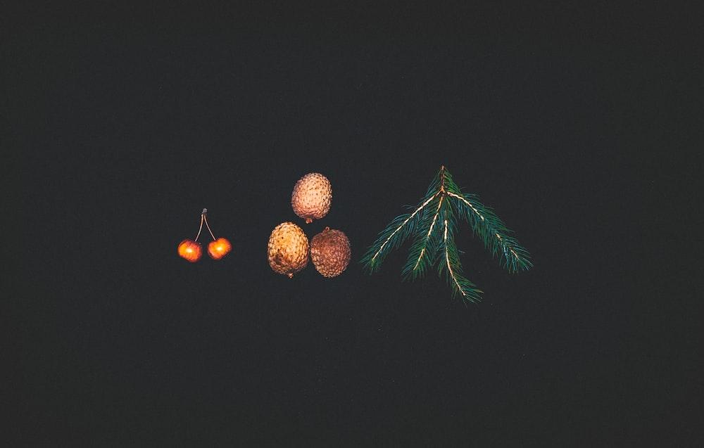 two cherry near three lychee fruits and green rosemary
