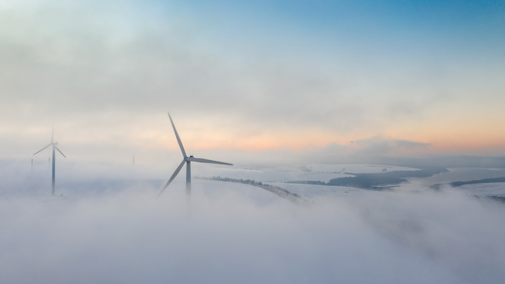 fogs covering wind turbines