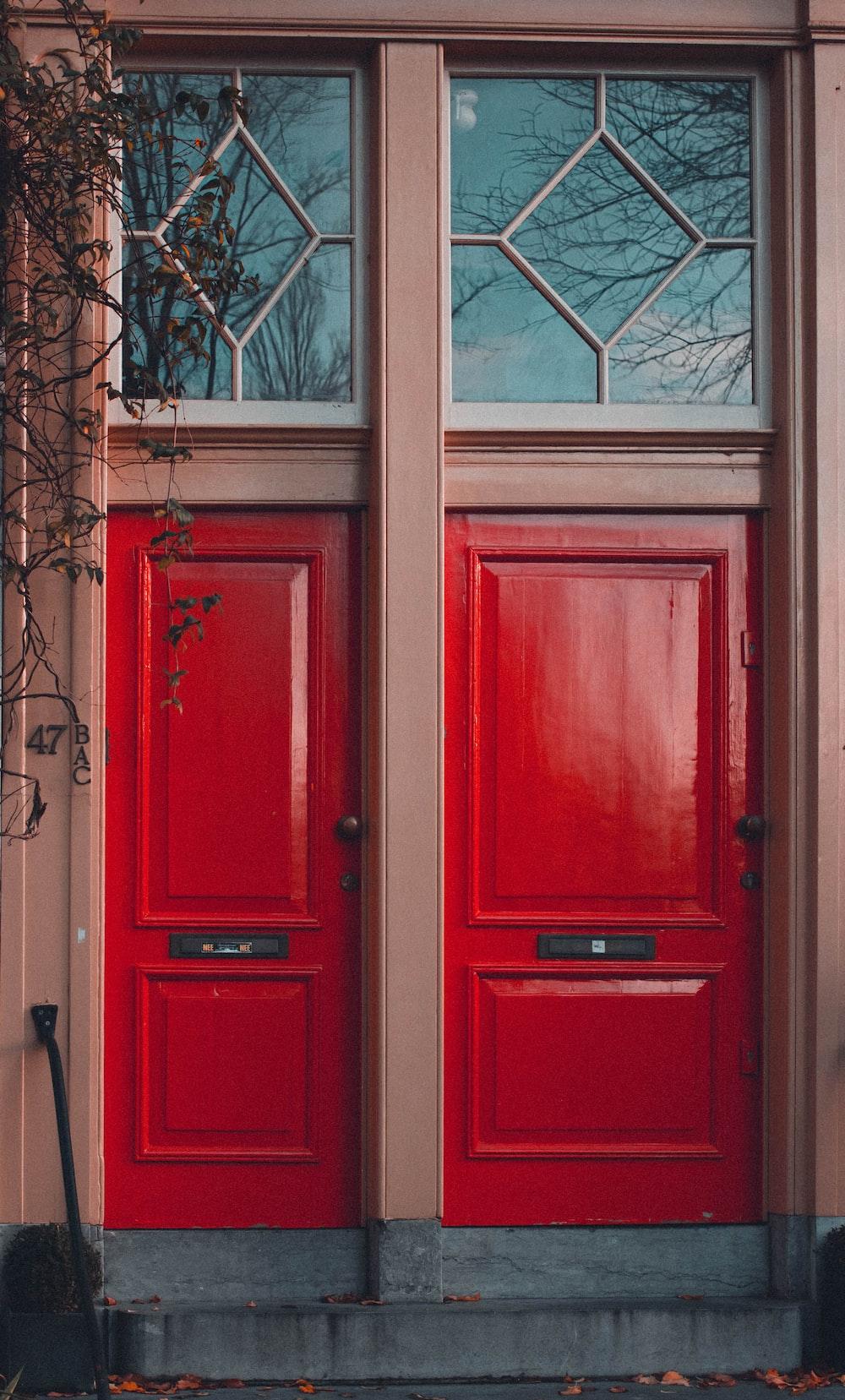 closed red doors