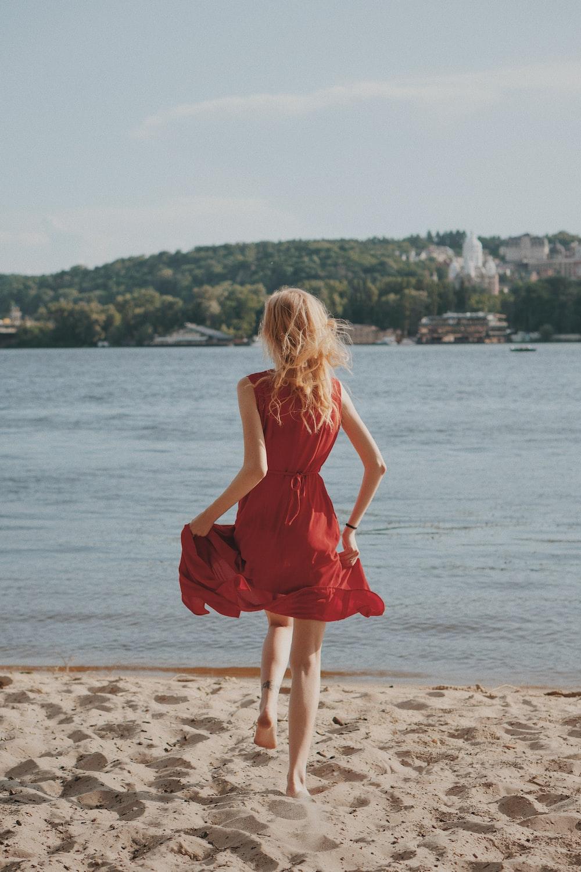 woman running on seashore