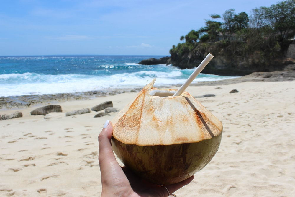 person holding coconut juice