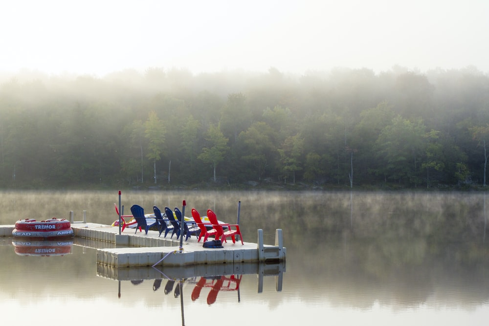 red and blue adirondack chairs on wooden dock during daytime
