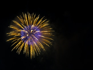 brown and purple fireworks
