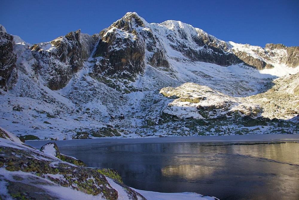 lake near mountain with snow