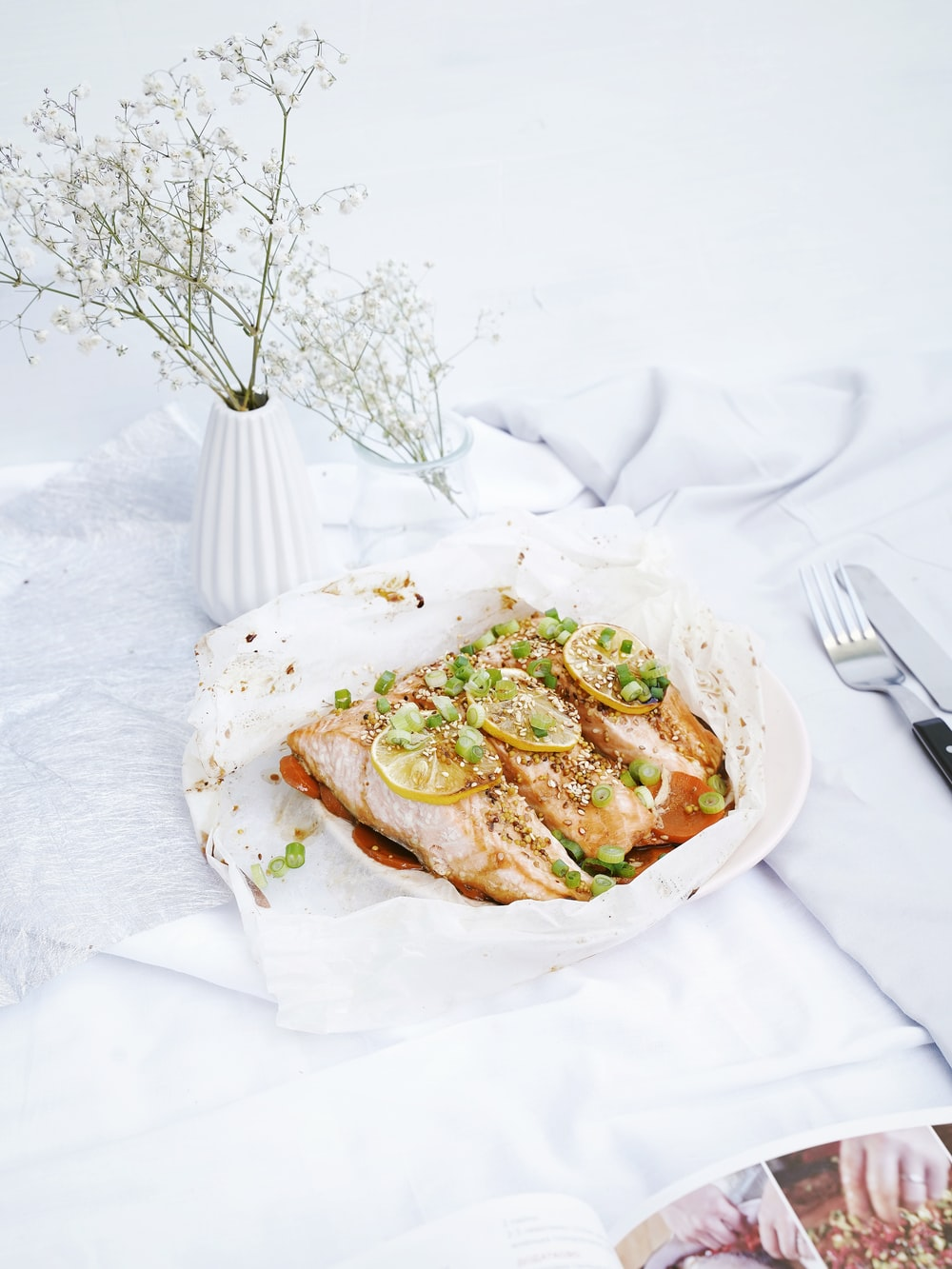 meat dish on white plate