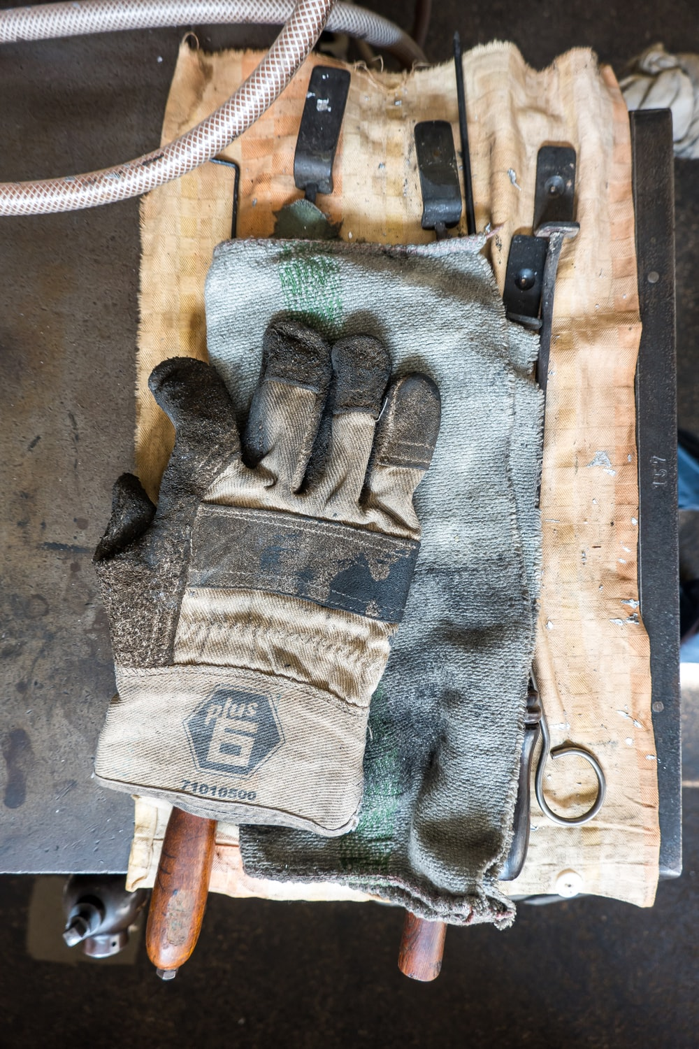 white and gray gloves on towel