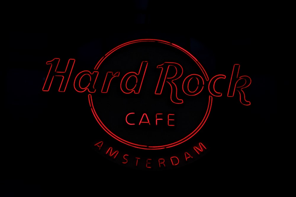 red Hard Rock Cafe Amsterdam LED signage