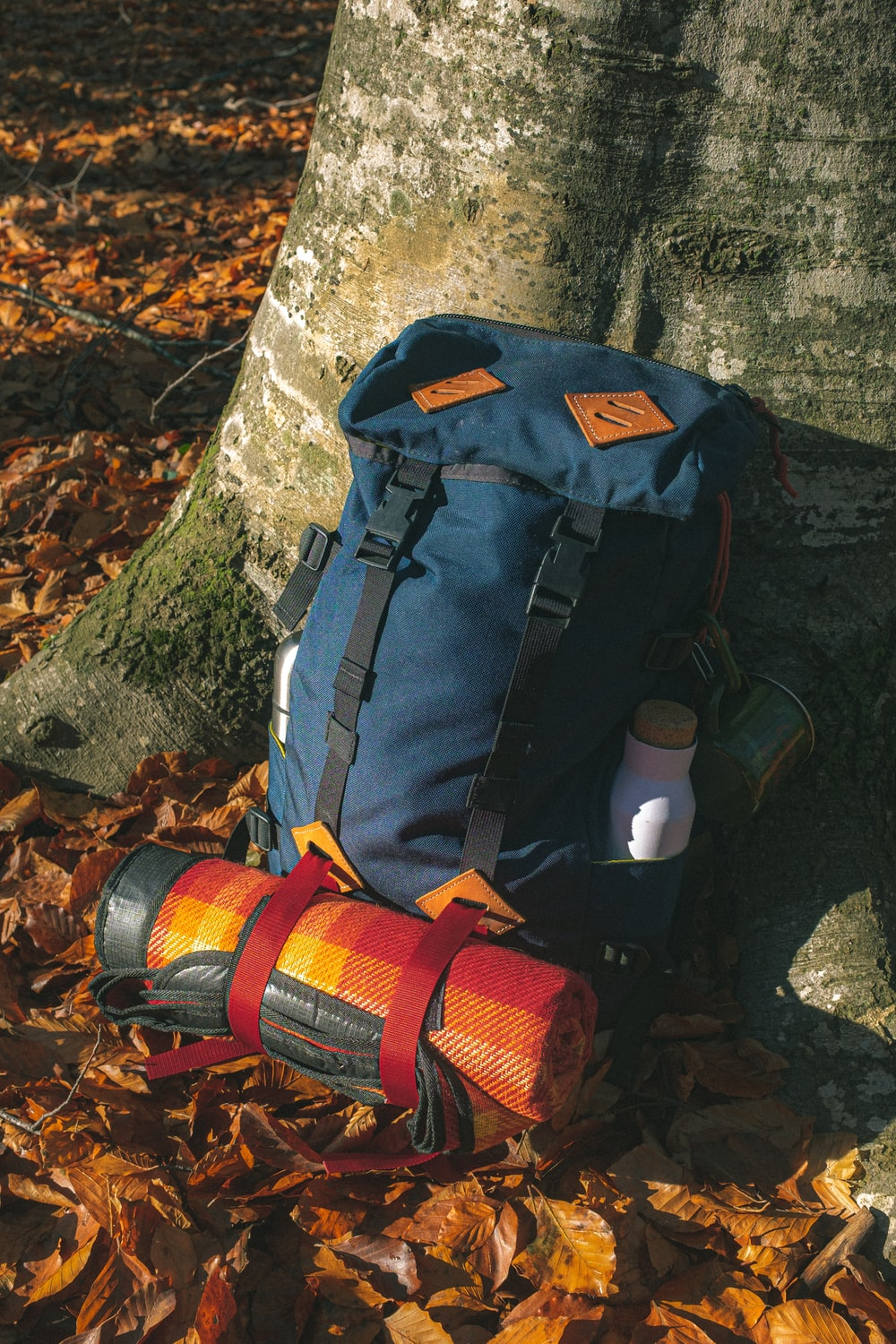 blue and beige camping backpack