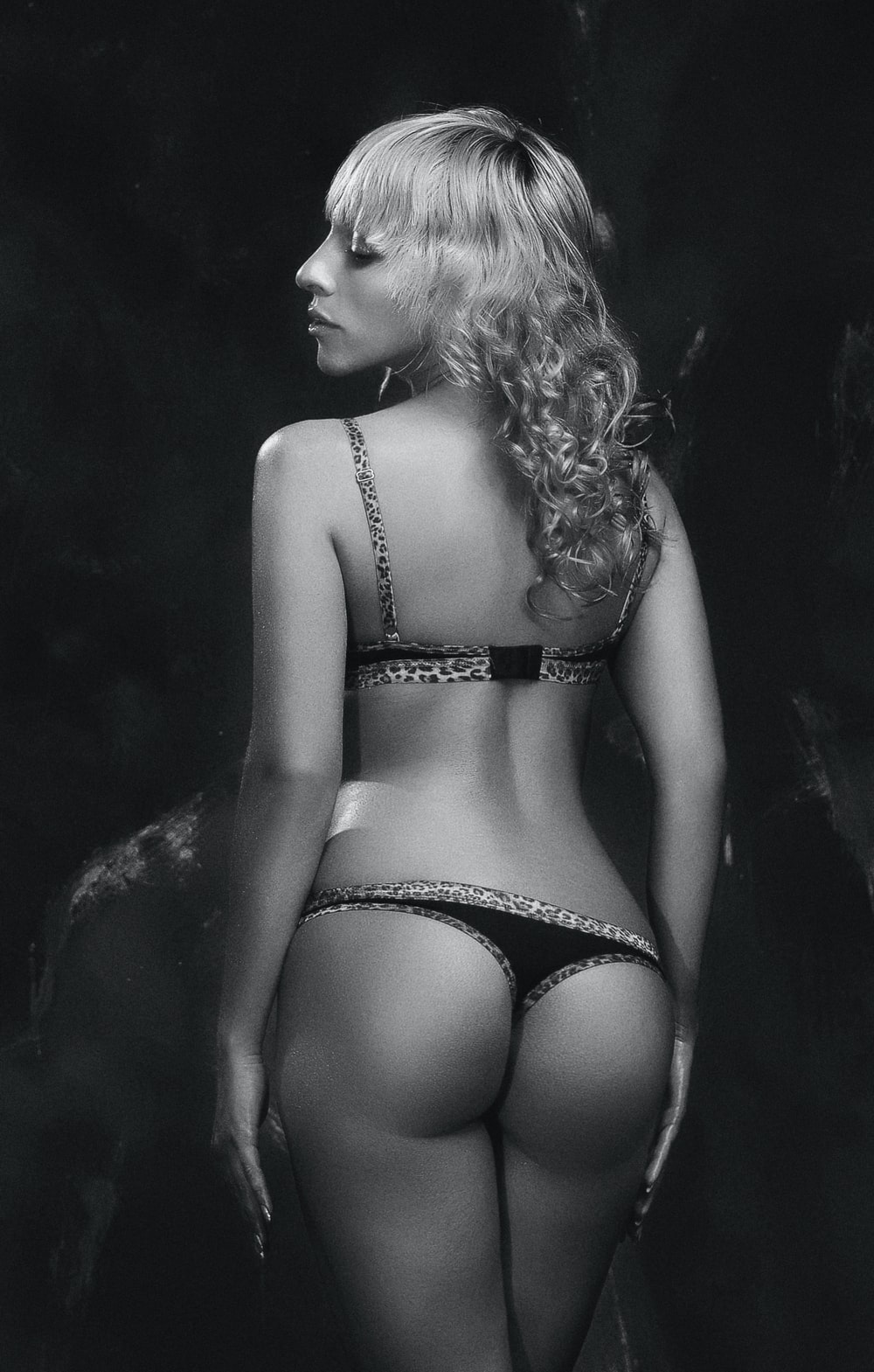women's black-and-gray brassiere and panty set