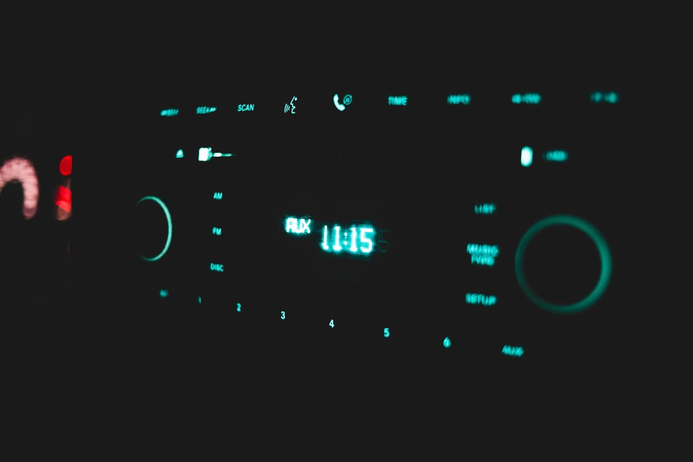 turned-on vehicle stereo