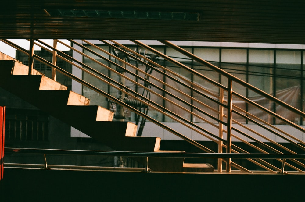 view photography of concrete stairs