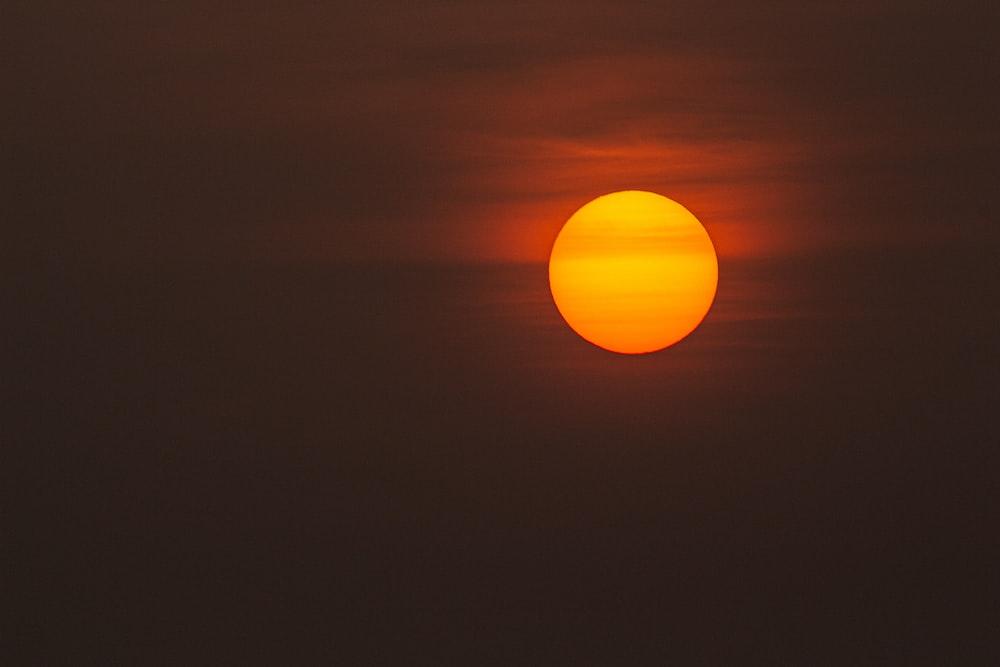 low-light photo of sun