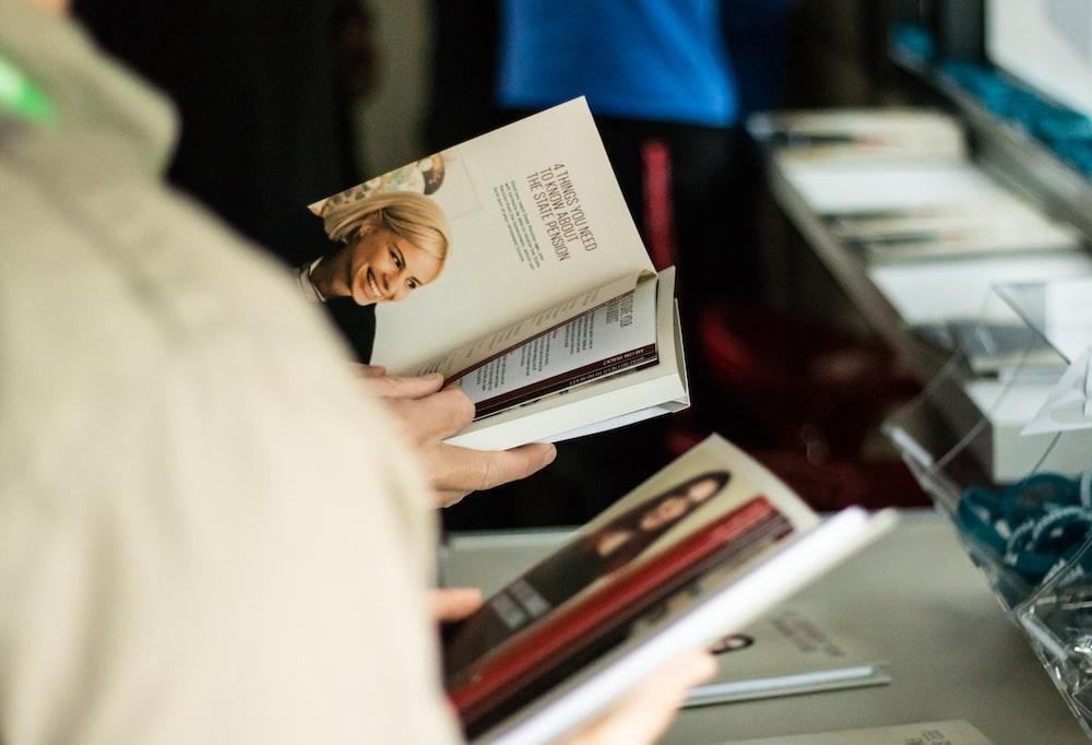 person reading books