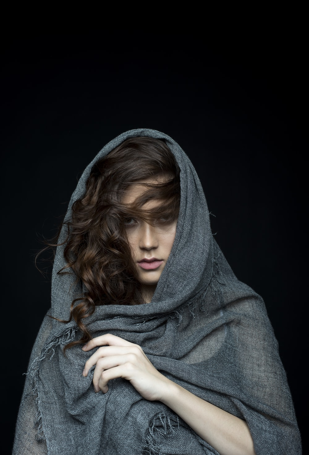 woman wearing black scarf