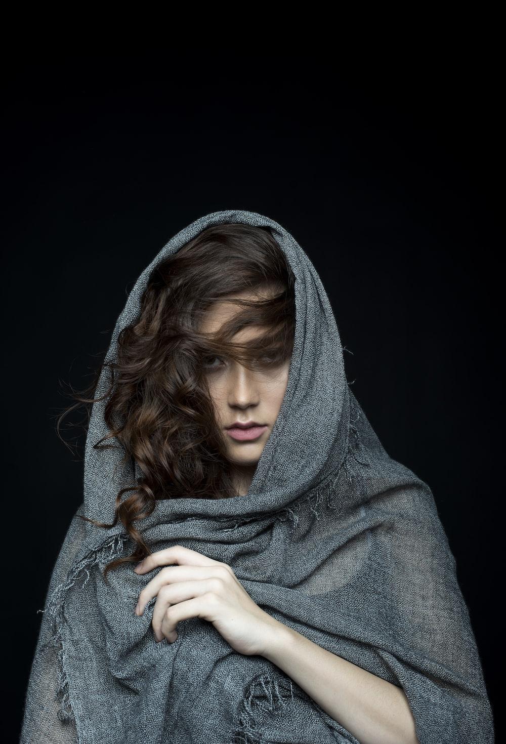 woman wearing black scarf