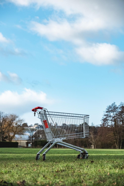 gray metal shopping cart