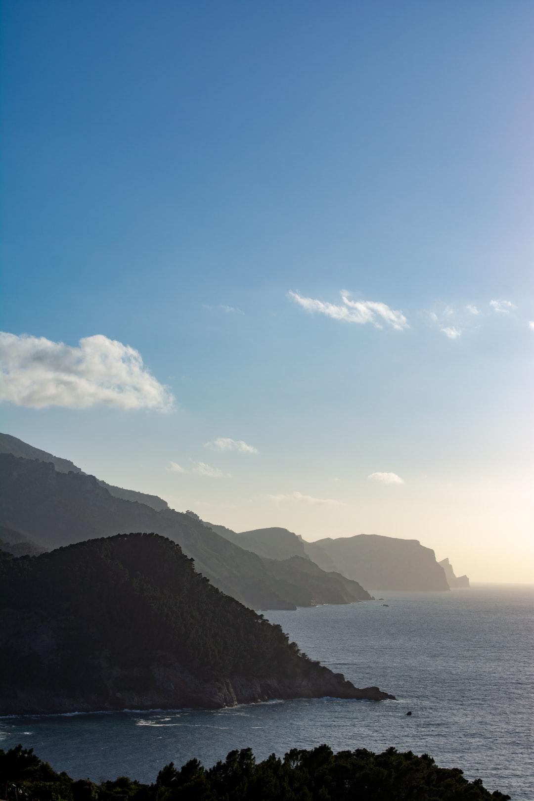 Misty cliffs during sunset