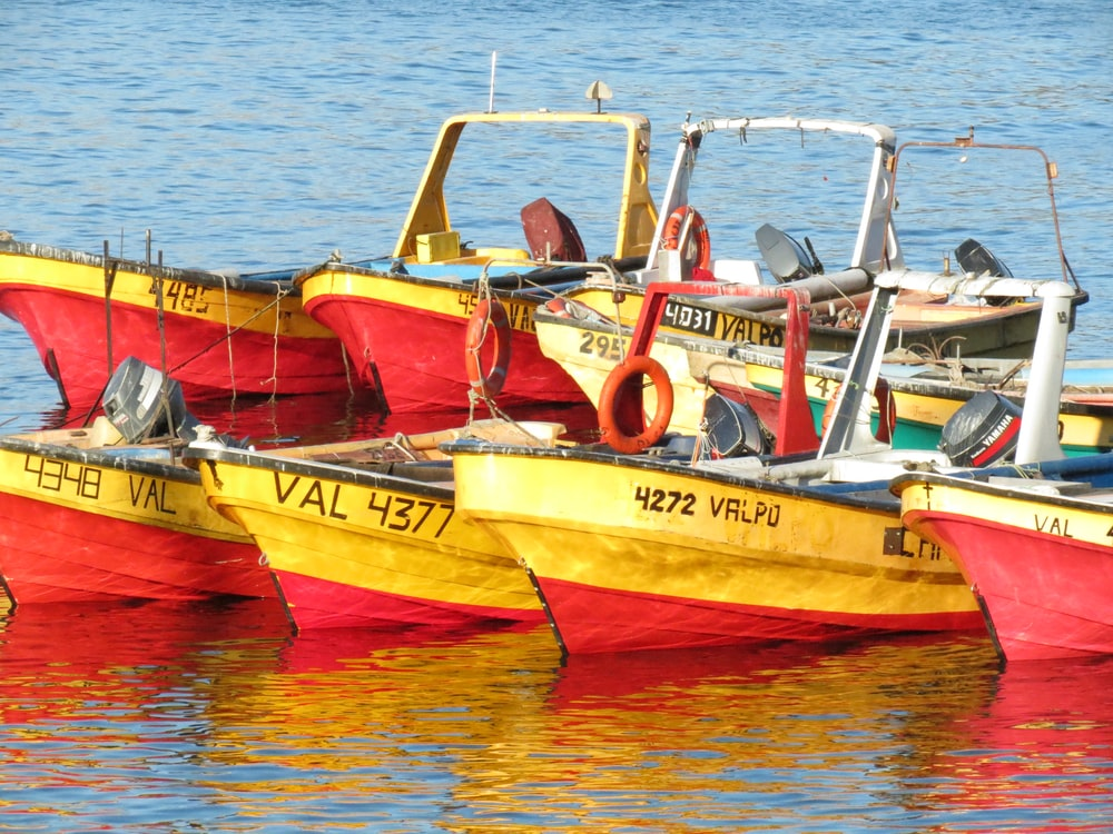 several yellow and red boats on water
