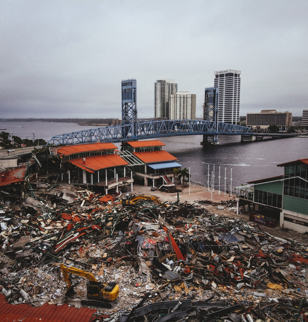 Jacksonville Landing demolition with bridge view