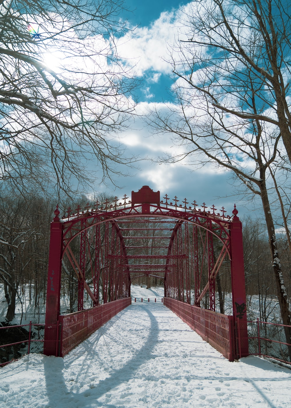 red metal bridge