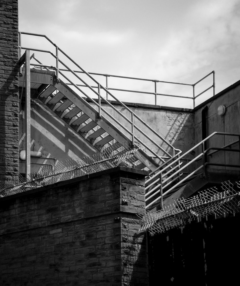 grayscale photography of buildding