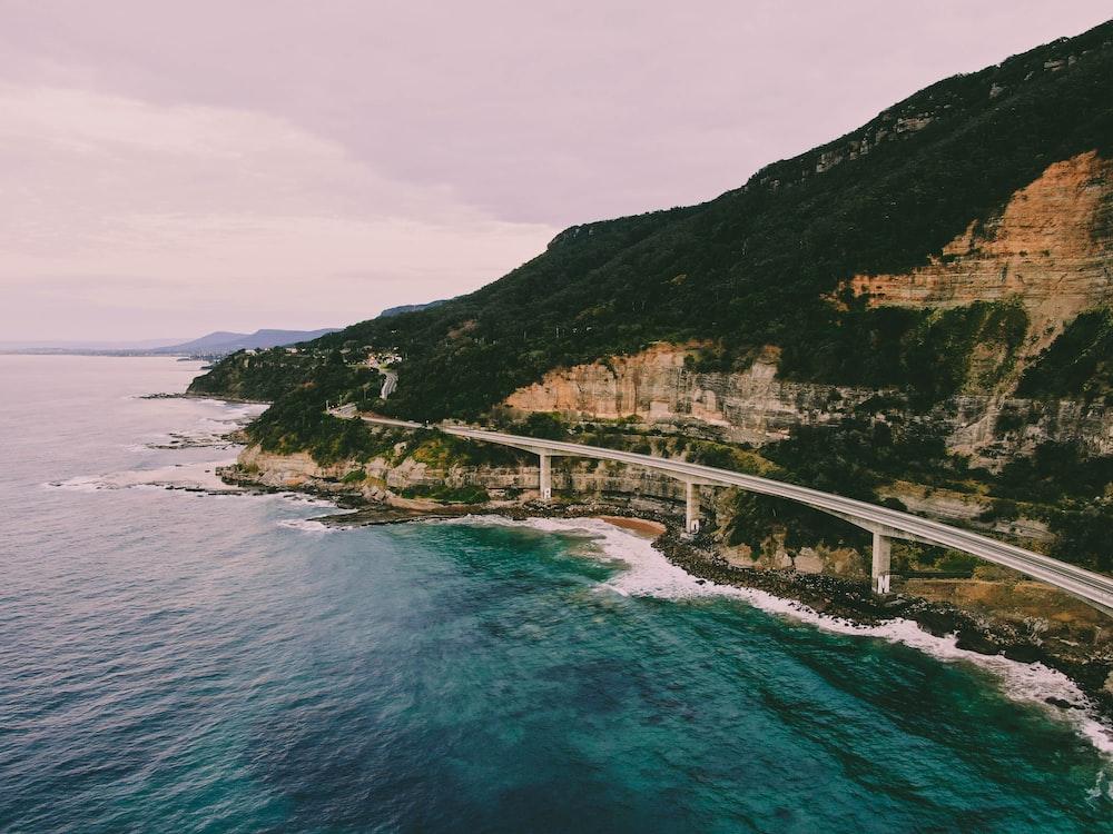 road beside sea