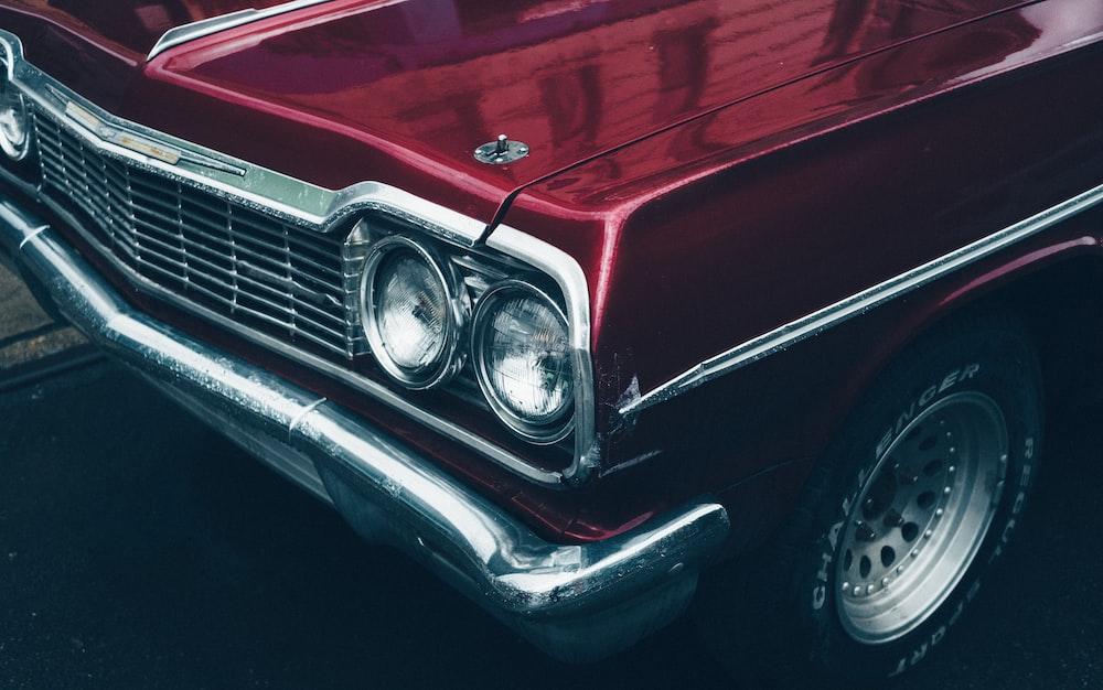 maroon muscle car
