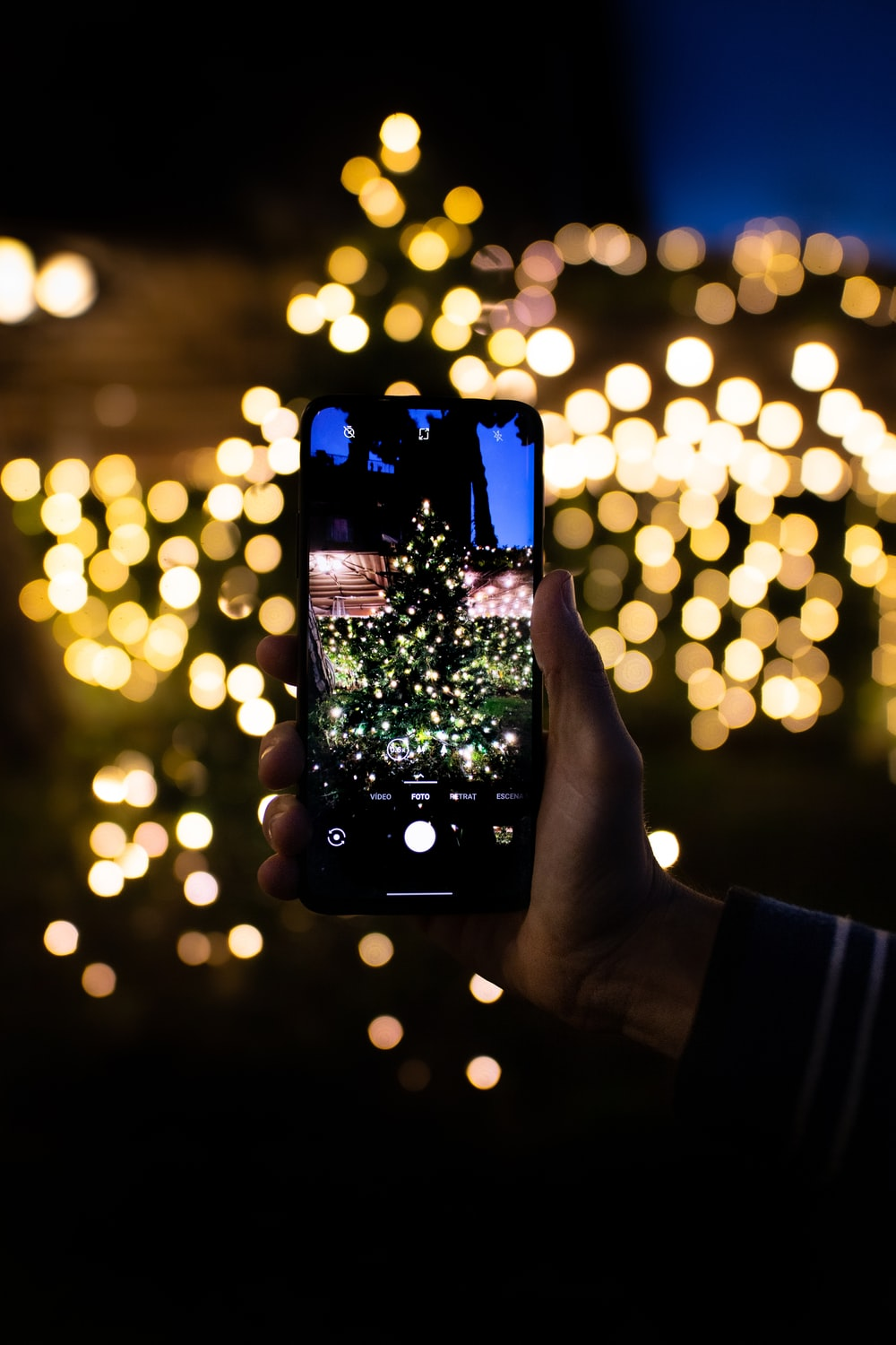 person holding black smartphone taking photo of green Christmas tree