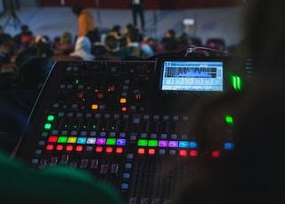 black DJ controller on stand
