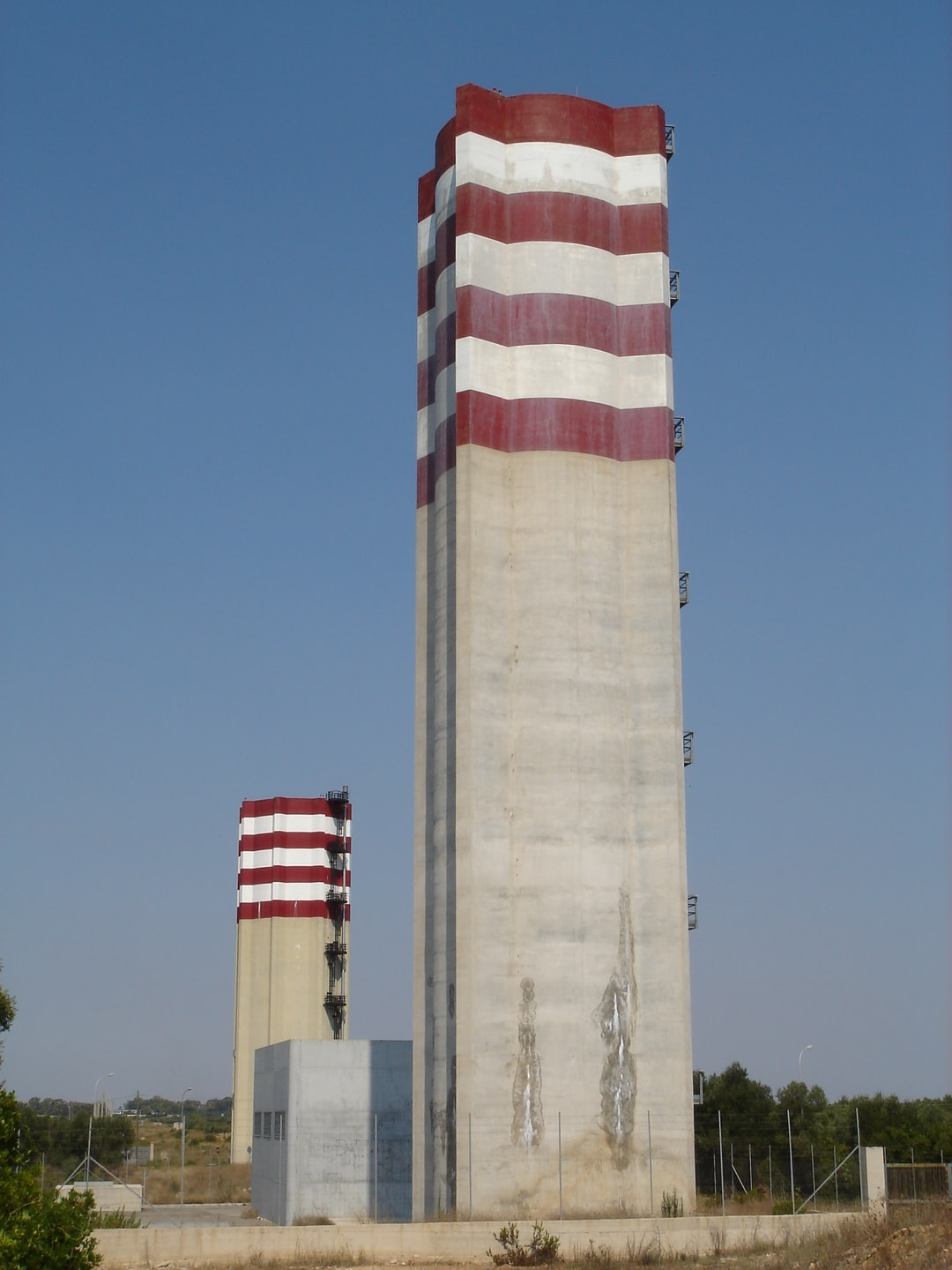 Strange twin towers near the town of Avetrana in Puglia, Southern Italy. Probably water reservoirs.
