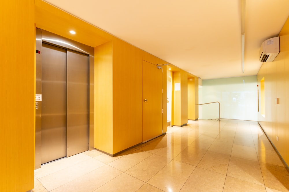 silver elevator in building