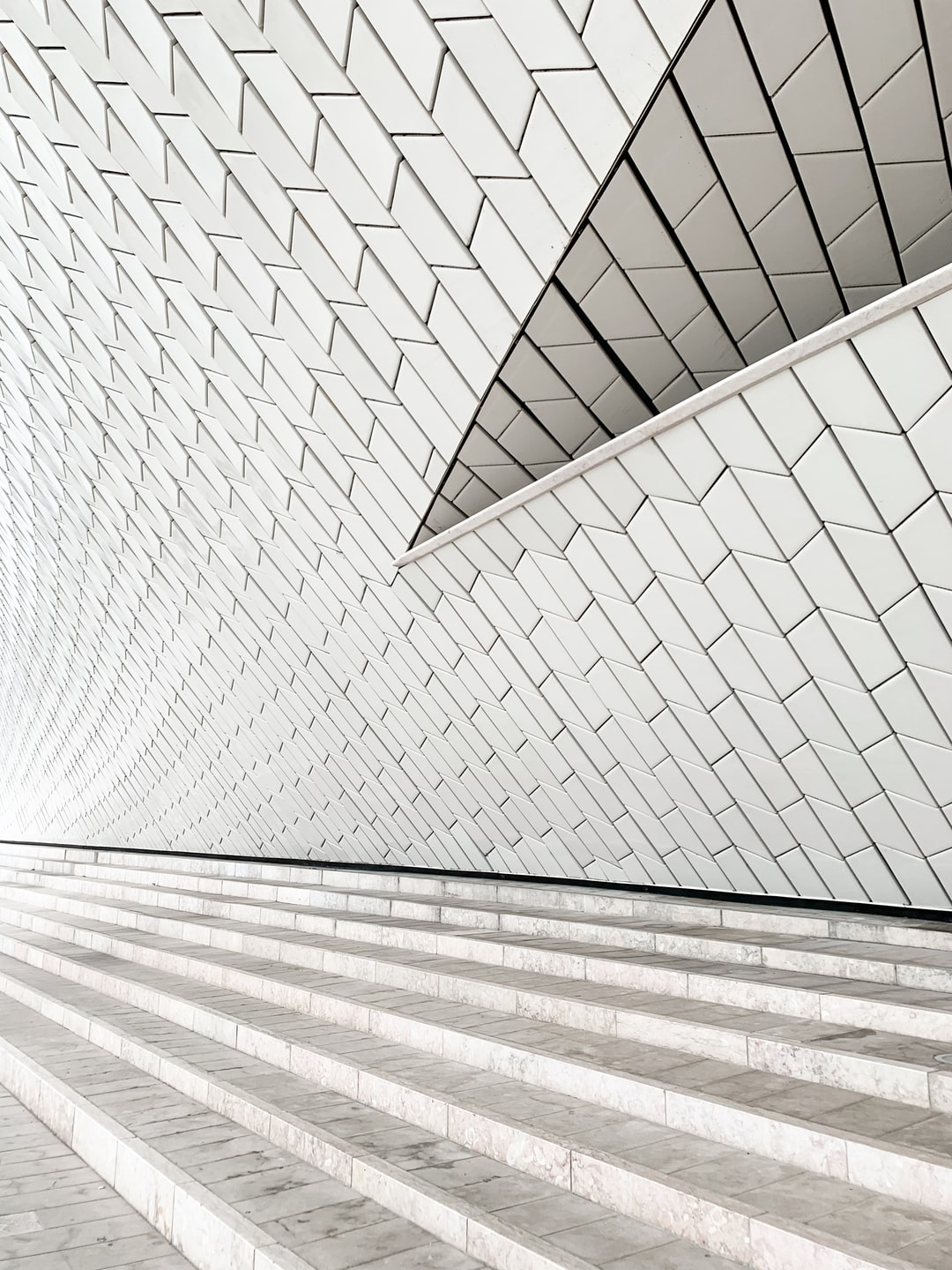 Patterned, textured white wall of a museum in Portugal