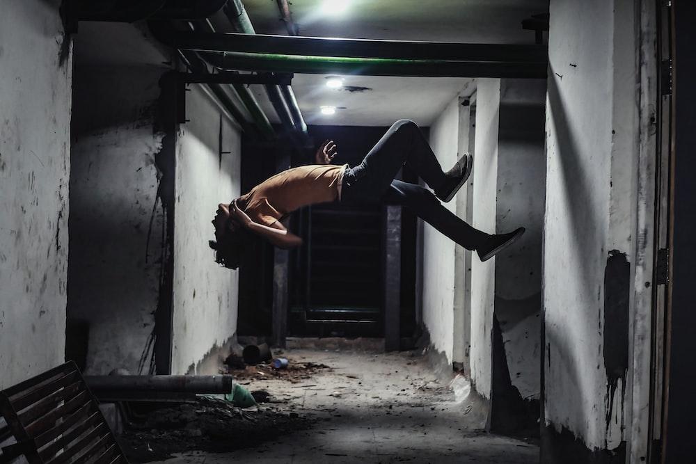 jumping man in room