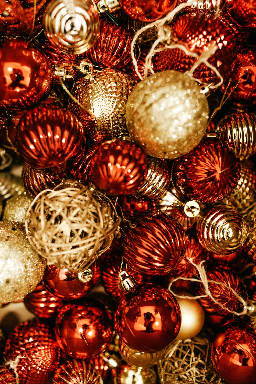 red and brown Christmas baubles