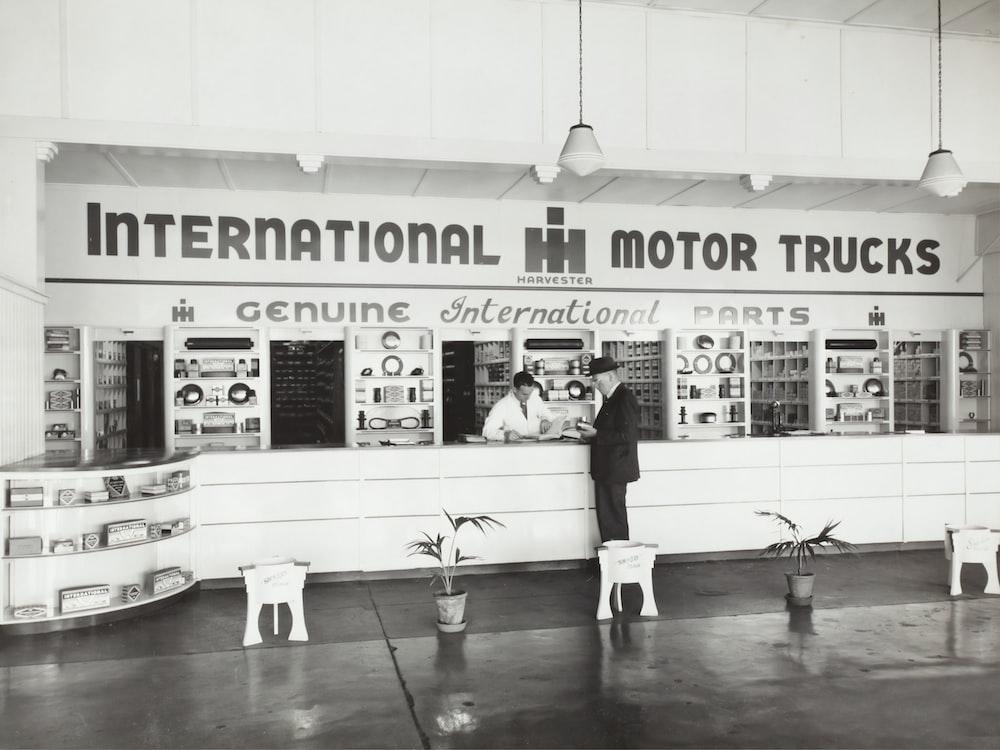 grayscale photography of International Motor Trucks store