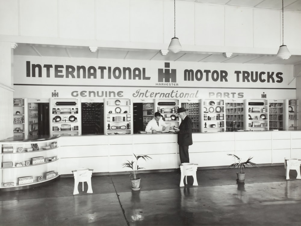 grayscale photography of International Motor Trucks store