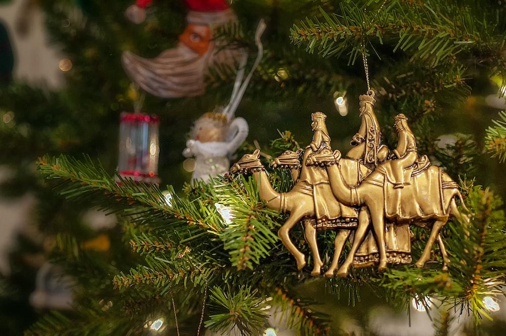 brown camel Christmas tree decor