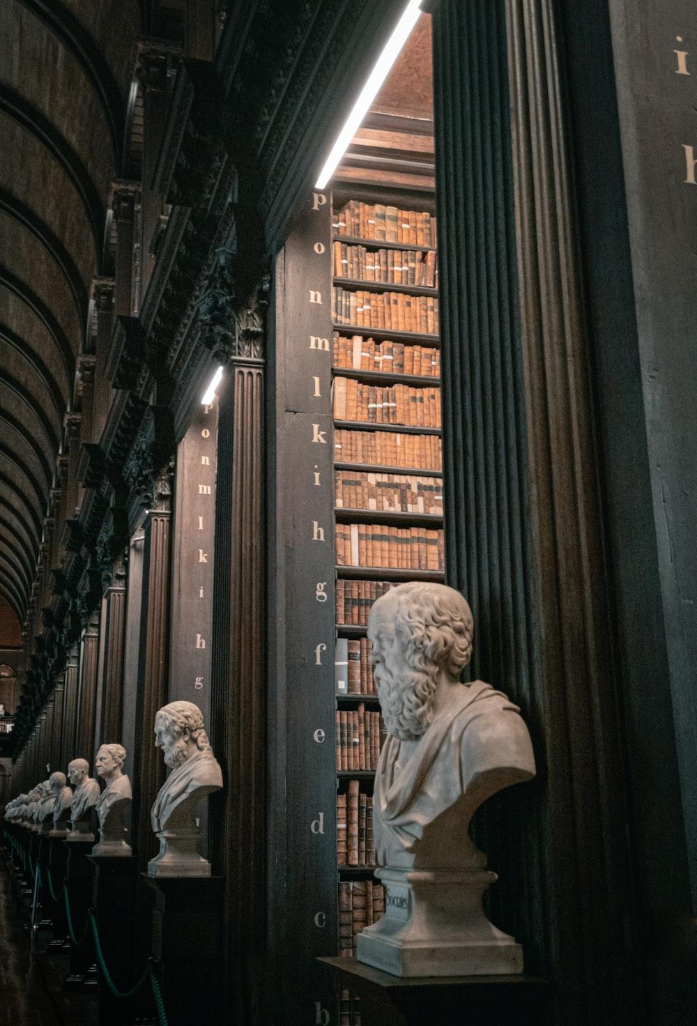 bust beside columns