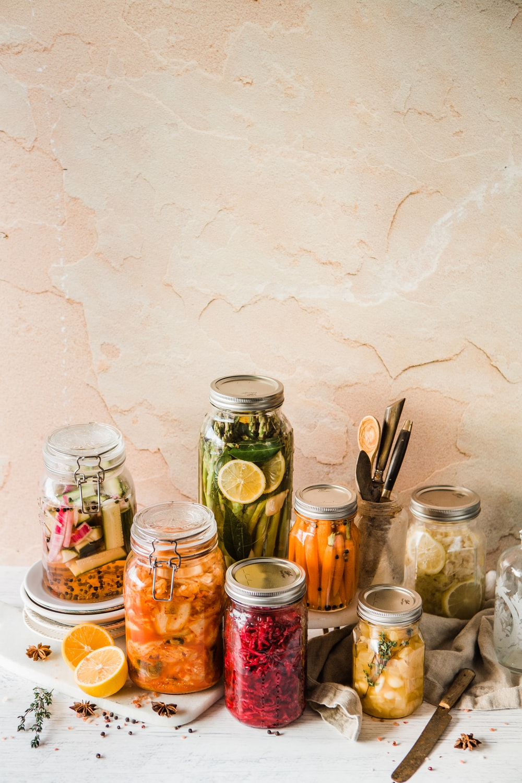 shallow focus photo of assorted jar lot