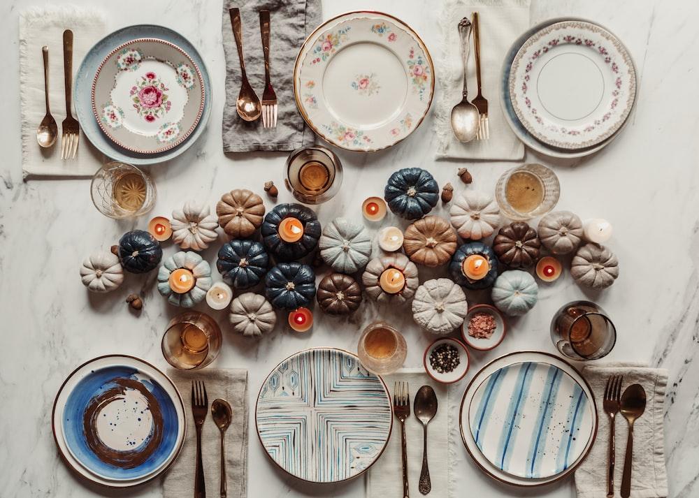 pumpkins beside plates