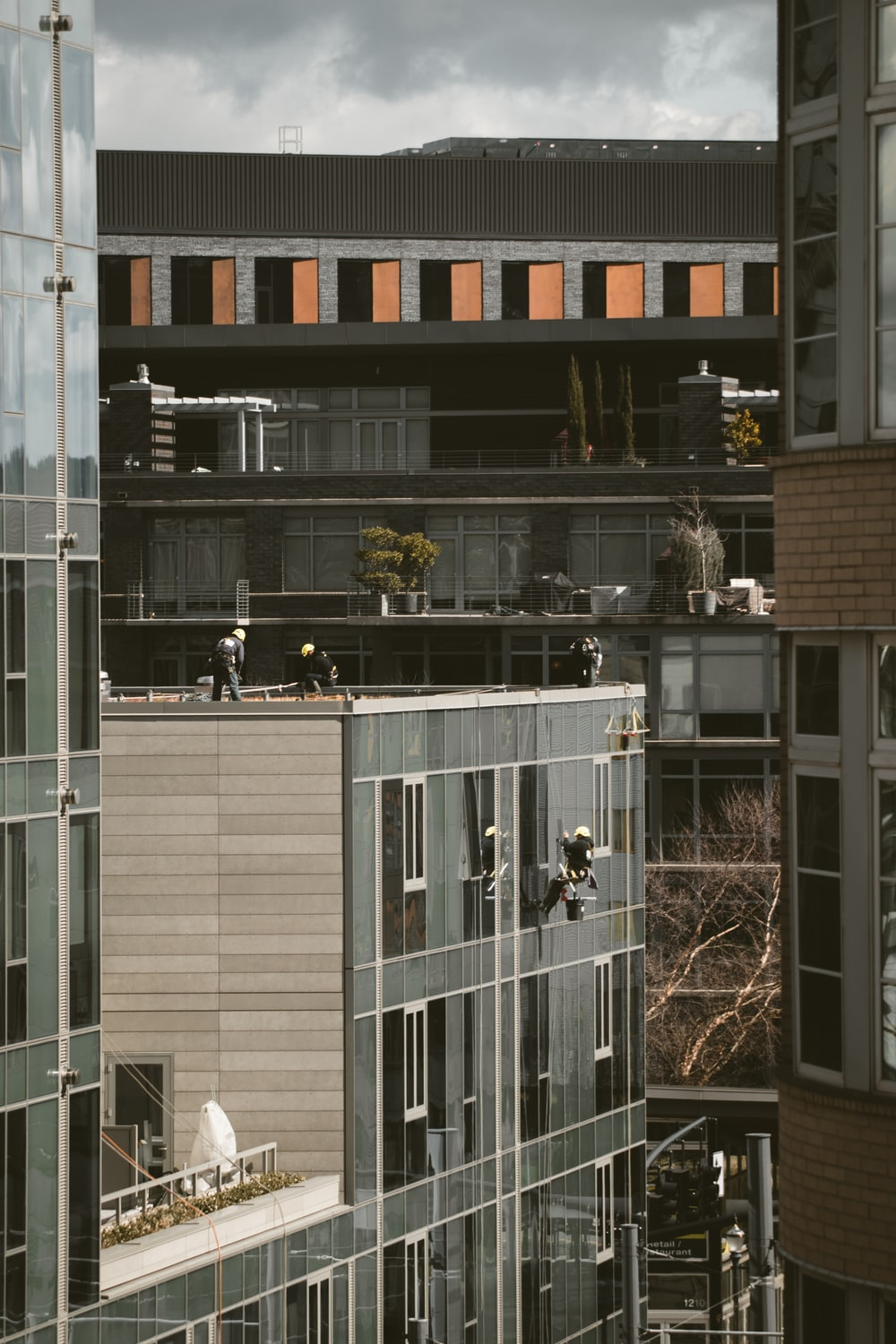 group of people working on the building