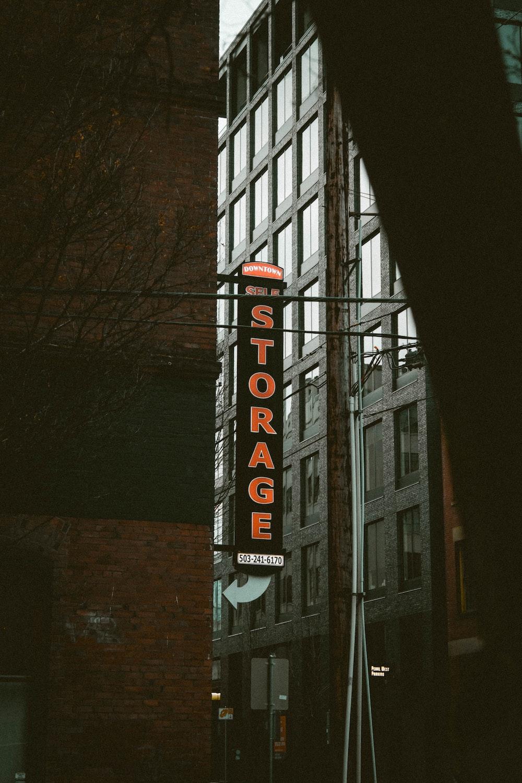 orange and black Storage signage