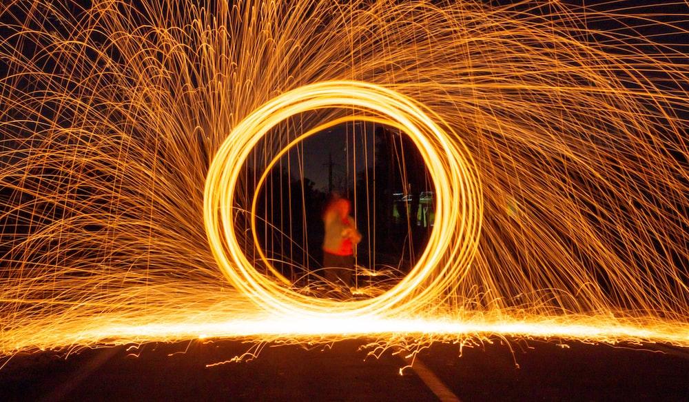 long-exposure photography of firecracker