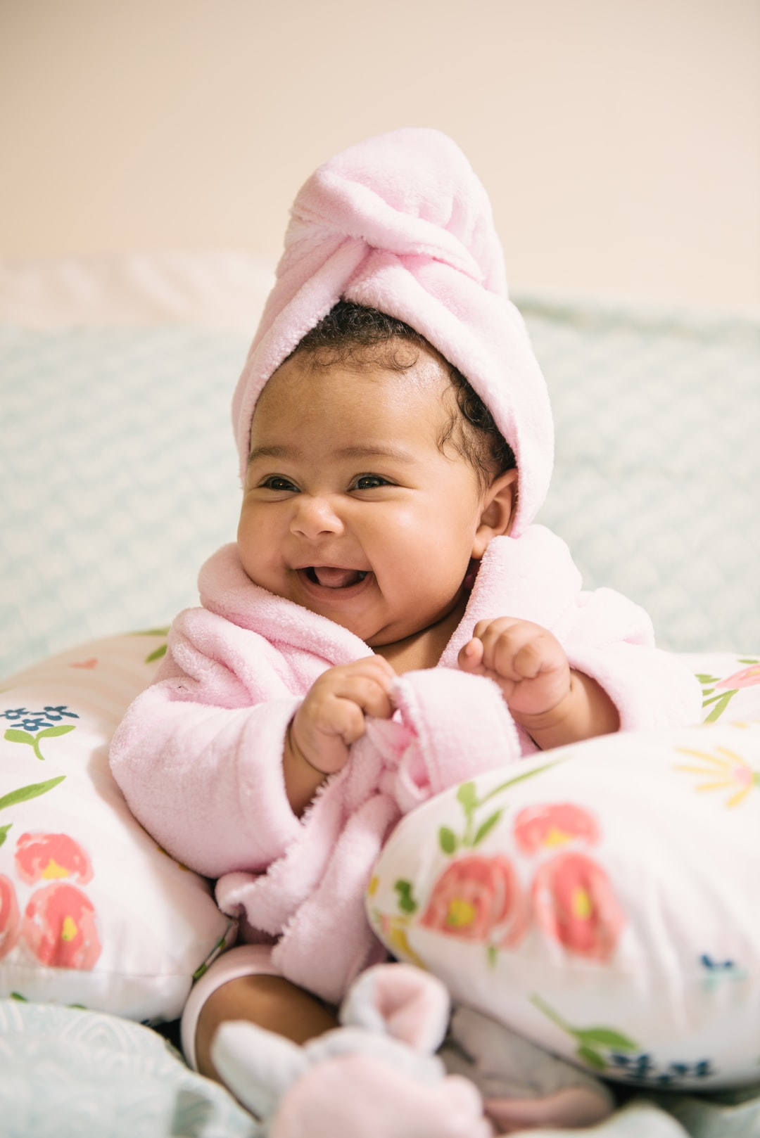 Baby With Robe Spa Day  in Boppy Pillow