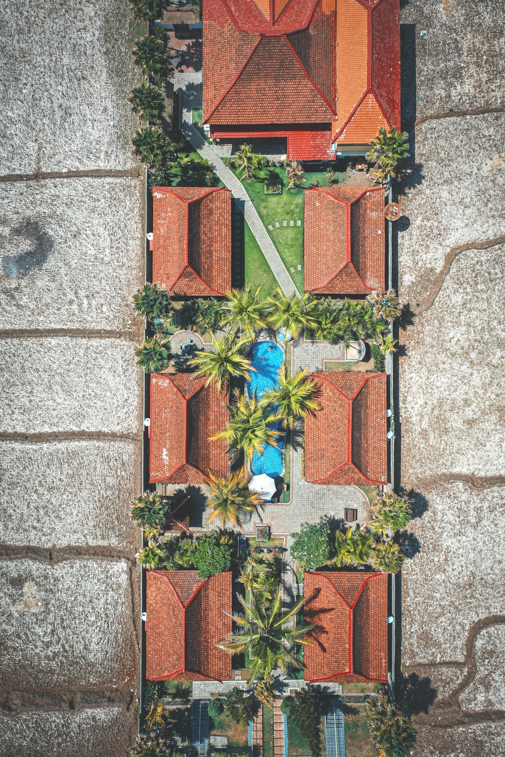 aerial photography of resort cottage