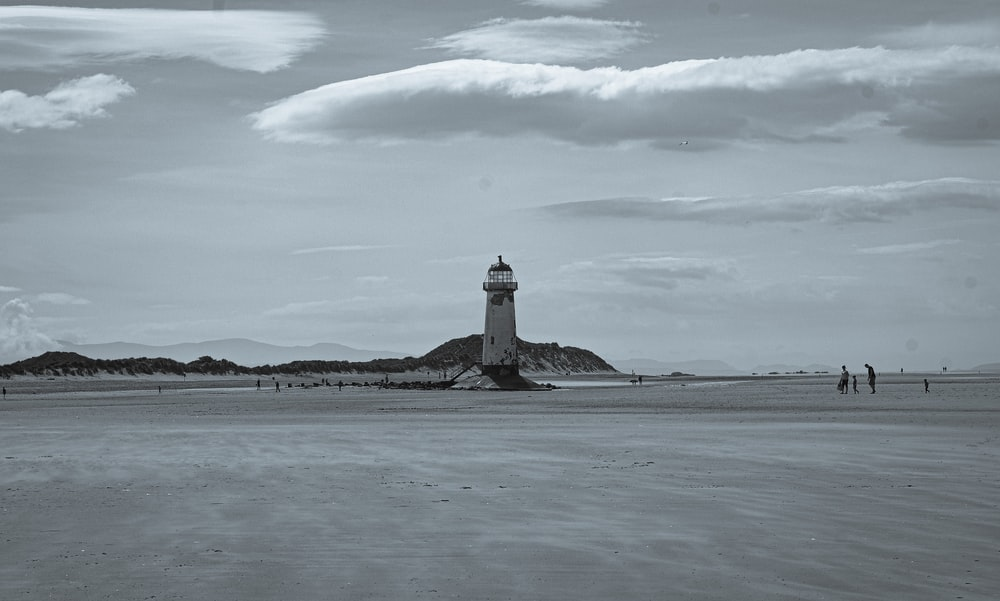 greyscale photo of lighthouse