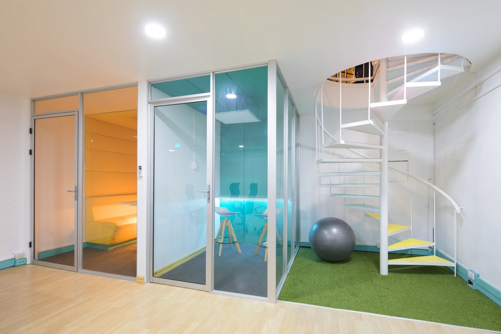 orange and blue glass panel rooms