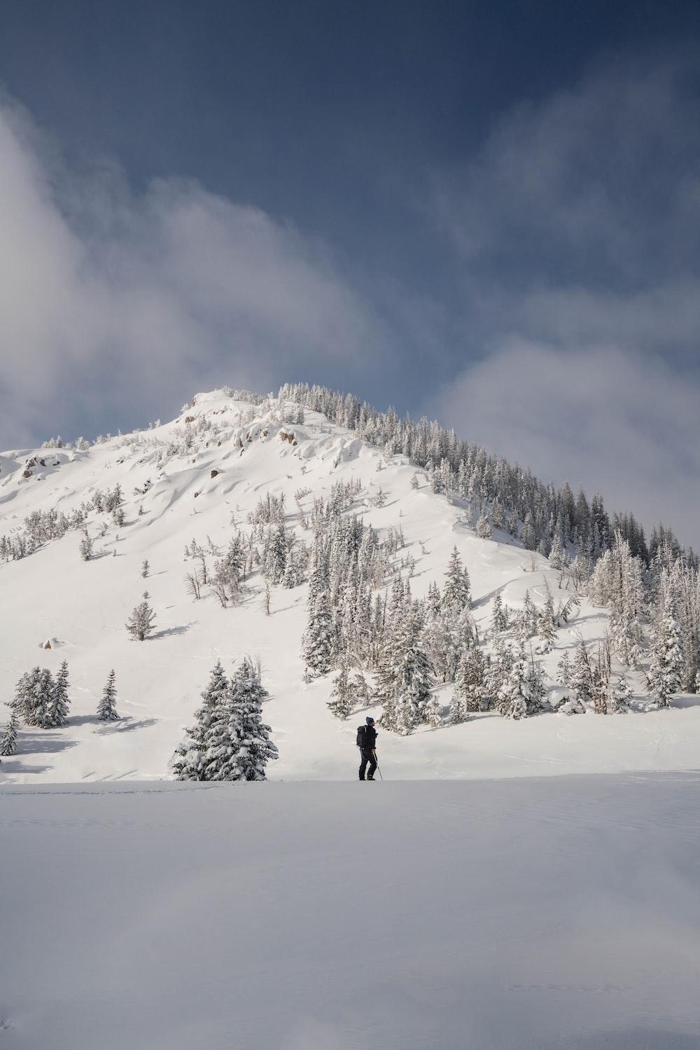 man trekking in a snowy mountain